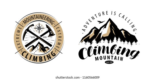 Climbing, mountaineering logo or label. Mountains vector