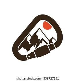 Climbing the mountains, inspiring card, vector illustration.