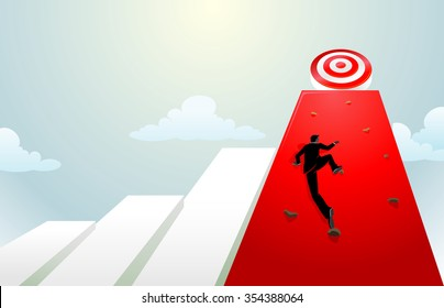 Climbing on Target High Graph-Businessman determination in fulfilling goals.