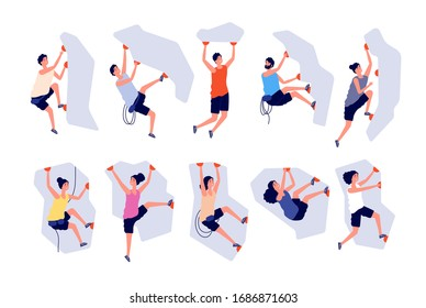 Climbing people. Woman man extreme adventure. Male climbs wall, strong sport. Person on mountain or cliff with equipment vector illustration