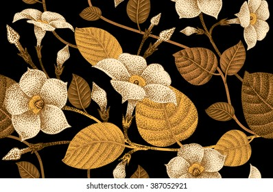 Climbing plant ivy. Seamless floral pattern. Garden flower bindweed. Vector Illustration - template design luxury packaging, textile, paper. Golden branch, leaves, flowers on black background.