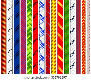 Climbing ropes pattern - flat vector set