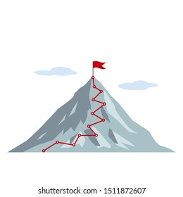 Climbing route to the top of the mountain with a flag and clouds. vector illustration isolated on white background