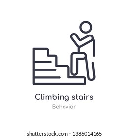 climbing stairs outline icon. isolated line vector illustration from behavior collection. editable thin stroke climbing stairs icon on white background