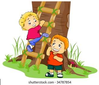 Climbing to Tree House - Vector