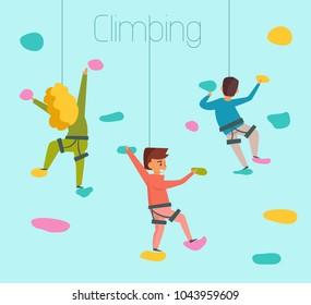 Climbing. Vector. Cartoon. Isolated art. Flat