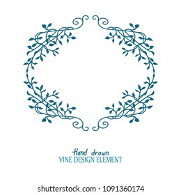 climbing vines in a frame or border vector design with beautiful floral ivy leaves in teal blue green in a fancy ornate decoration that is hand drawn
