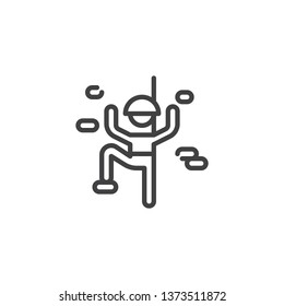 Climbing wall sport line icon. linear style sign for mobile concept and web design. Climber man climbing on the wall outline vector icon. Symbol, logo illustration. Pixel perfect vector graphics