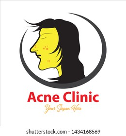 Clinic acne skin care. Face woman beautiful, magnifier, examining. Beauty care treatment Can be used for topics spa, salon, skincare, cosmetology, dermatology, etc. Simple template and easy to use.