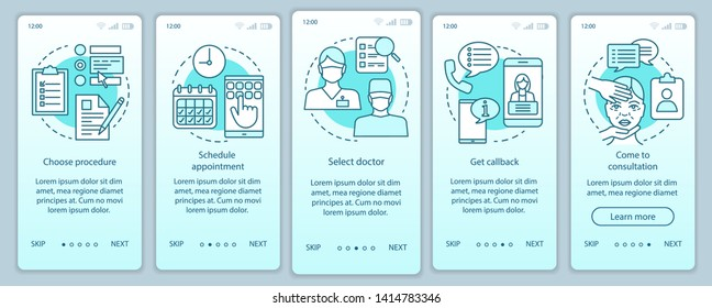 Clinic center appointment onboarding mobile app page screen vector template. Select doctor. Schedule. Walkthrough website steps with linear illustrations. UX, UI, GUI smartphone interface concept