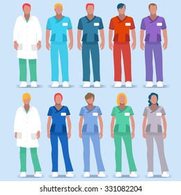 Clinic Doctor Nurse Scrub Physician Physiotherapist Medical team Character. Healthcare Color Code Uniform. Day Hospital Hero People male worker Doctor Nurse infographic Health Care Vector Images