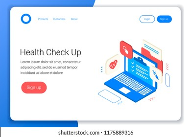 Clinic Health Check Concept Laptop Withdiagnostic Stock Vector ...