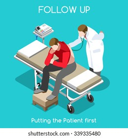 Clinic Health Check Up Visit Follow Up. Medical Doctor Patient Care Infographic. Hospital Patient Check. Healthcare Medical Clinic 3D Isometric People set Doctor Diagnosing Disease Vector illustration