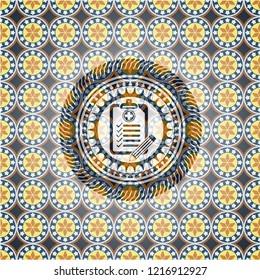 clinic history icon inside arabesque style badge. arabic decoration.