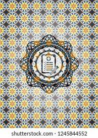 clinic history icon inside arabic style emblem. Arabesque decoration.