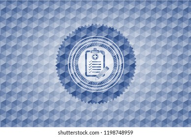clinic history icon inside blue badge with geometric pattern background.