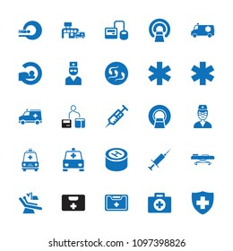 Clinic icon. collection of 25 clinic filled icons such as syringe, blod pressure tool, mri, medical sign, medical kit, doctor. editable clinic icons for web and mobile.
