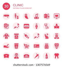 clinic icon set. Collection of 30 filled clinic icons included Floss, Vaccine, Teeth, Doctor, Blood transfusion, Brace, Denture, Nurse, Phonendoscope, Lab coat, Medicine, Vaccination