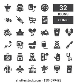 clinic icon set. Collection of 32 filled clinic icons included Medicine, Hemoglobin, Hospital, Lab coat, Phonendoscope, Blood donation, Pressure, Doctor, Medical kit, Scalpel