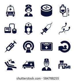 clinic icons set. Set of 16 clinic filled icons such as syringe, blod pressure tool, drop counter, nurse, medical kit, doctor, ambulance, injection, hospital