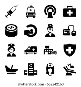 Clinic icons set. set of 16 clinic filled icons such as baby basket, first aid kit, hospital, blod pressure tool, mri, medical sign, nurse, doctor, ambulance, injection
