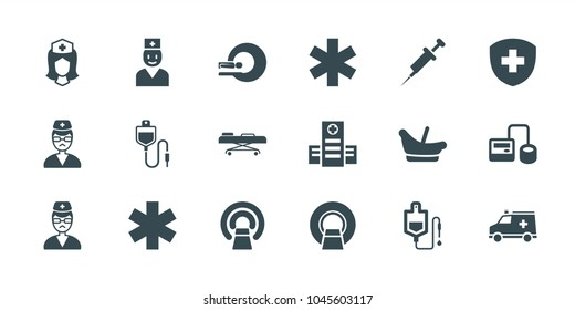 Clinic icons. set of 18 editable filled clinic icons: baby basket, hospital, blod pressure tool, drop counter, mri, medical sign, nurse, doctor, ambulance, hospital stretch