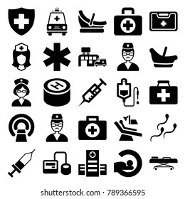 Clinic icons. set of 25 editable filled clinic icons such as baby basket, first aid, first aid kit, hospital, syringe, blod pressure tool, drop counter, mri, medical sign