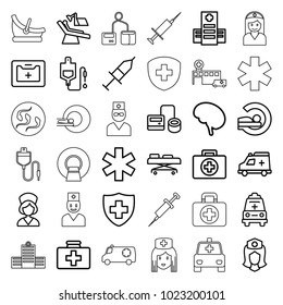 Clinic icons. set of 36 editable outline clinic icons such as first aid, first aid kit, hospital, blod pressure tool, drop counter, mri, medical sign, nurse, medical kit
