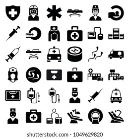 Clinic icons. set of 36 editable filled clinic icons such as first aid, blod pressure tool, drop counter, mri, medical sign, nurse, medical kit, ambulance, doctor, injection