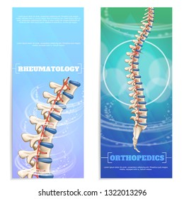 Clinic Rheumatology and Orthopedics Set Flat Banner on Colorful Background. Diagnosis and Treatment Rheumatic Diseases. Treatment Spinal Deformities and Dysfunctions. Problem Solving Back Pain.