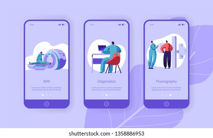 Clinic Tomography Diagnostic Mobile App Page Onboard Screen Set. Medical Center Hospital Healthcare Patient Professional Healthy Website or Web Page. Flat Cartoon Vector Illustration