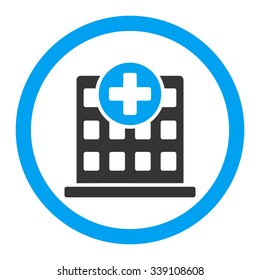 Clinic vector icon. Style is bicolor flat rounded symbol, blue and gray colors, rounded angles, white background.