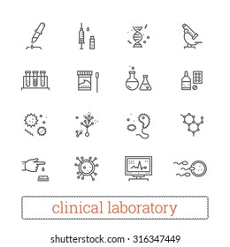 Clinical laboratory thin line icons: medicine science, virology study, microbiology assay, immune system analysis, genetics, diagnostic equipment, medical tools. Modern vector design elements.