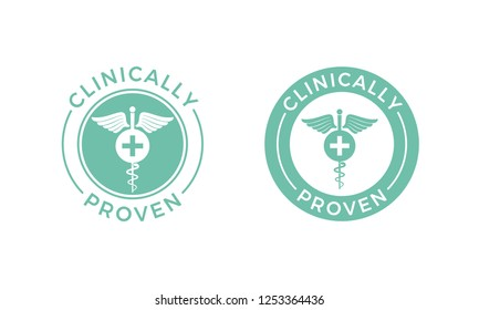 Clinically proven caduceus label. Vector pharmaceutical medical proven tested product cross icon