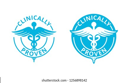 Clinically proven marking or sticker with caduceus symbol - pharmaceutical medical tested product - vector icon