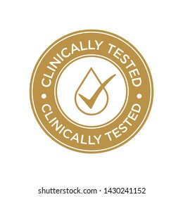 Clinically Tested icon. Golden round symbol.