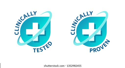 Clinically tested and clinically proven sticker for laboratory tested products - vector element with medical cross in 2 variations