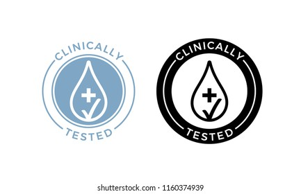 Clinically tested vector label of water drop and medical test cross for sensitive skin of kid cosmetic skincare products package icon stamp