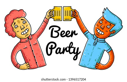 Clink. Clinking Beer Glasses. Beer Party. Irish Pub. Men with Beer Glasses on white background isolated. Stock Vector Illustration. Cartoon style.