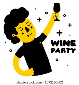 Clink. Clinking Wine Glasses. Wine Party. Person with Wine Glasses. Human with Wine Glasses on white background isolated. Stock Vector Illustration. Cartoon style.