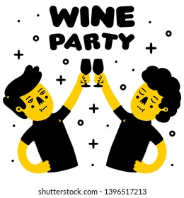 Clink. Clinking Wine Glasses. Wine Party. Two Persons with Wine Glasses. Two Humans with Wine Glasses on white background isolated. Stock Vector Illustration. Cartoon style.