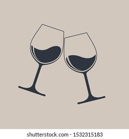Clink glasses graphic icon. Cheers with two glasses with wine. Sign isolated on light brown background. Vector illustration