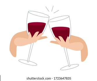 clink glasses with red wine. festive feast with alcoholic drinks. beautiful female hand holds a glass of wine. celebration with clinking glasses. vector illustration in a flat style. cheers.