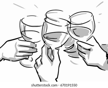 Clink glasses vector sketch. Drinking wine, cheers. Hands holding glasses black and white simple line drawing. White background.