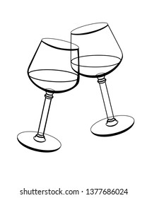 The clink of wine glasses. Linear drawing for coloring - two glasses of wine. Celebration, congratulation wish and clinking glasses.
