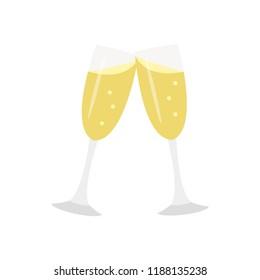 Clinking champagne classes festive flat design emoji cheers