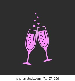 Clinking glasses of champagne vector icon illustration on black background