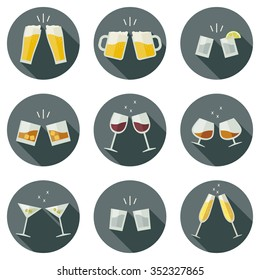 Clinking glasses vector icons. Glasses with alcoholic beverages in flat style.