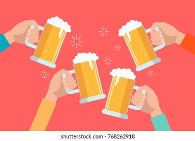 Clinking hands with beer and foam on bright background.