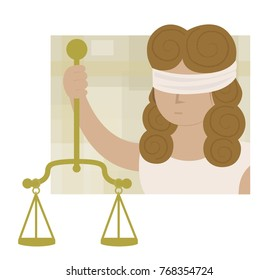 Clip art of blindfolded Lady justice holding scales. Eps10